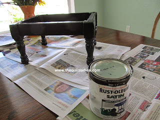 foot stool painted black