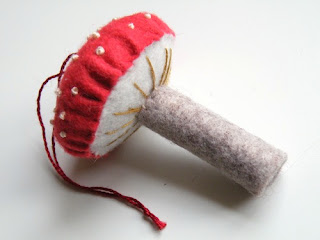 Felt Toadstool decoration made with felt and hand embroidery
