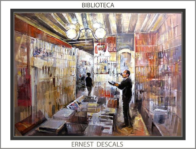 BIBLIOTECA-PINTURA-CUADROS-BIBIOTECAS-LIBROS-PINTURAS-LIBRERIA-ARTISTA-PINTOR-ERNEST DESCALS-