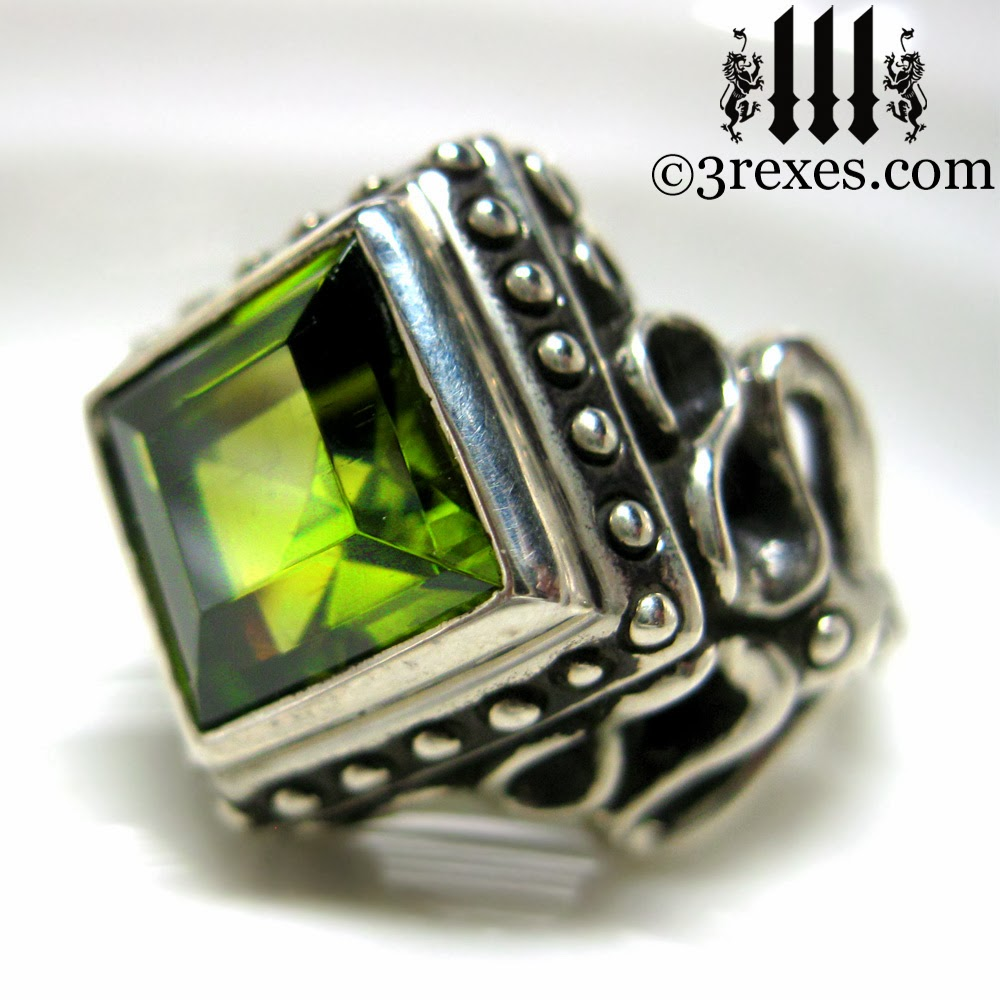 Raven Love Silver Gothic Wedding Ring With Cocktail Green Peridot