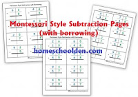 http://homeschoolden.com/2015/03/09/montessori-subtraction-pages-with-borrowing/