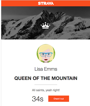 Digital Trophy, with my results as Queen of the Mountains on All Saints avenue
