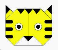 Bước 11: Vẽ mắt, vẽ mũi, vẽ lông để hoàn thành cách xếp mặt con  hổ bằng giấy origami.