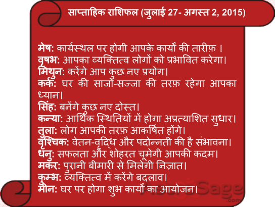 saptahik rashiphal k sath jane apne aane wale saptah ke bhavishya phal ke bare mein.