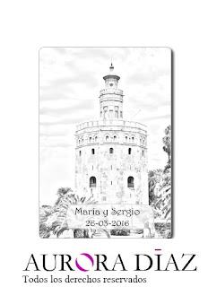 Tarjeta para alfileres de boda Torre del Oro