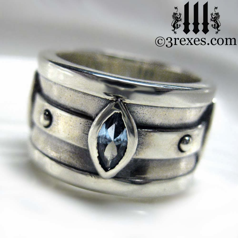 silver medieval wedding ring moorish marquise band - Medieval Wedding Rings
