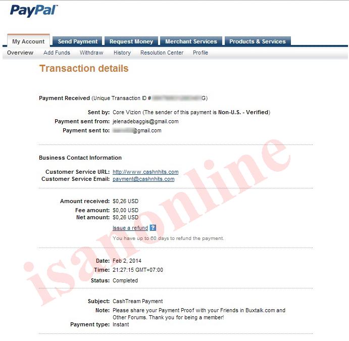 pembayarn cashtream