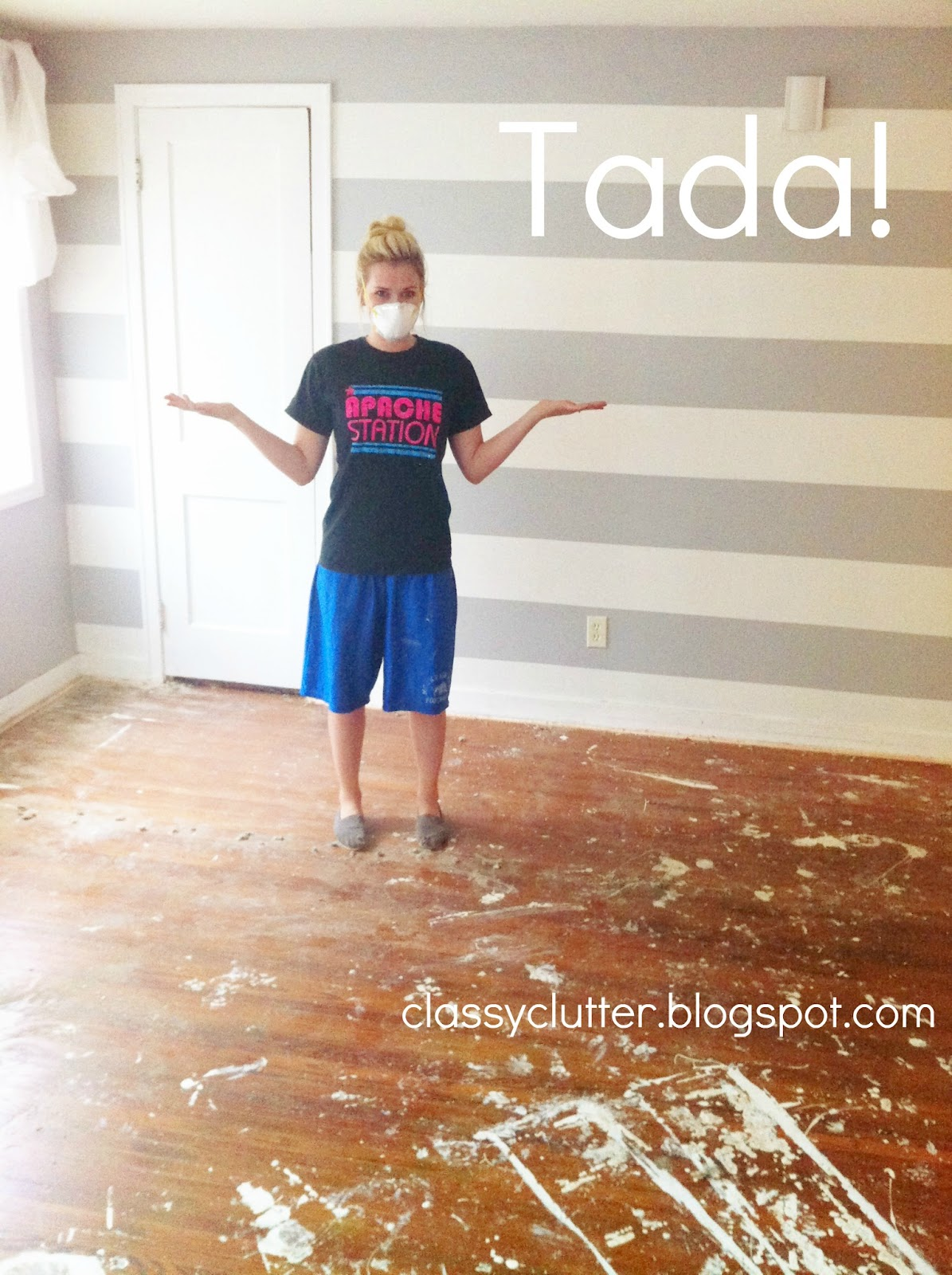 Do you see all that paint on the floor? It looked like the people who renovated the house knew they were going to lay carpet down after they painted the ...