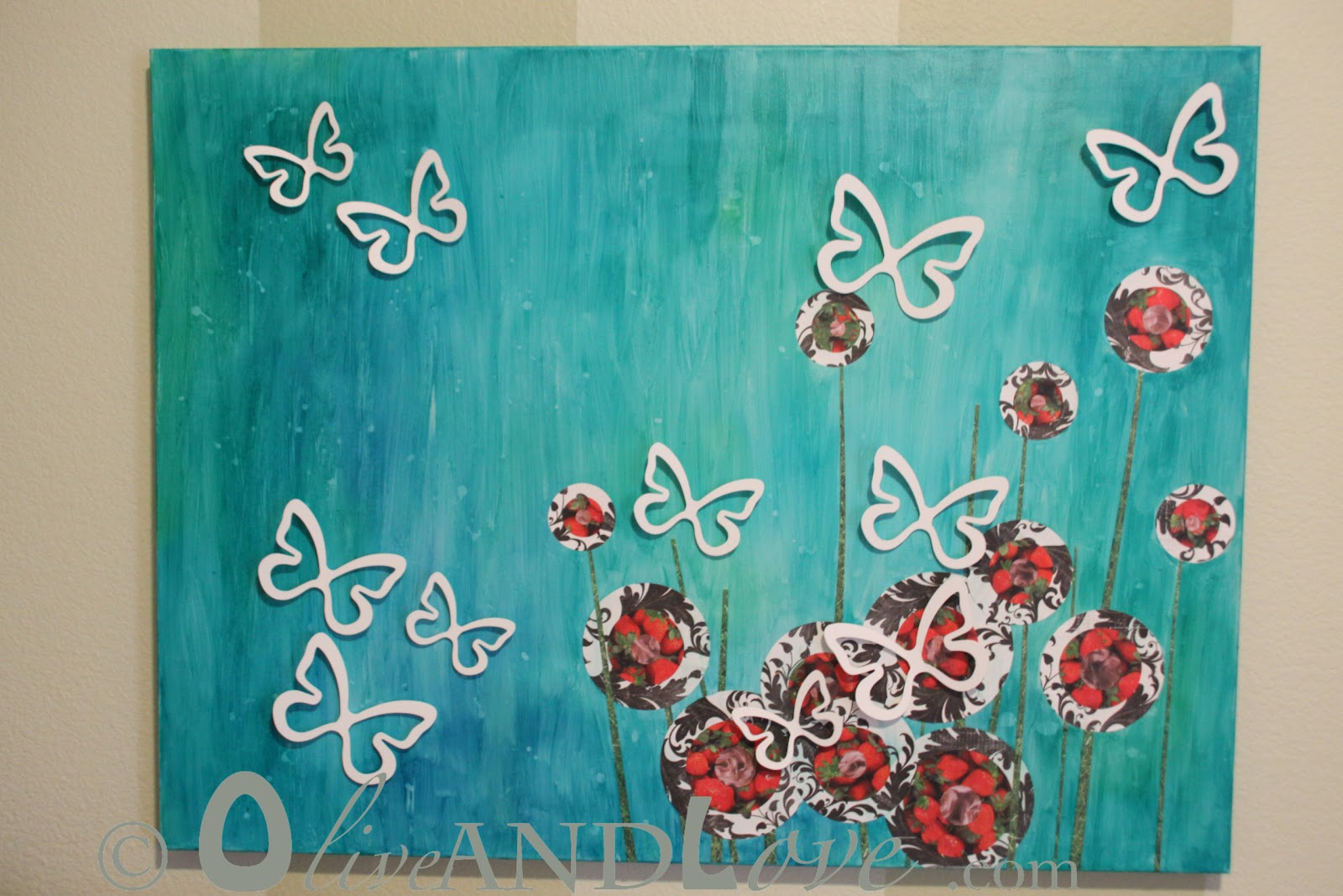 olive and love 3d canvas art with butterflies and