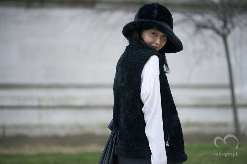 Model Sung Hee Kim after Vanessa Bruno 2014 Fall Winter show during Paris Fashion Week PFW