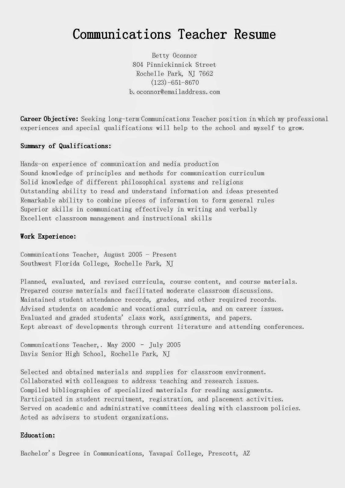 resume samples  communications teacher resume sample