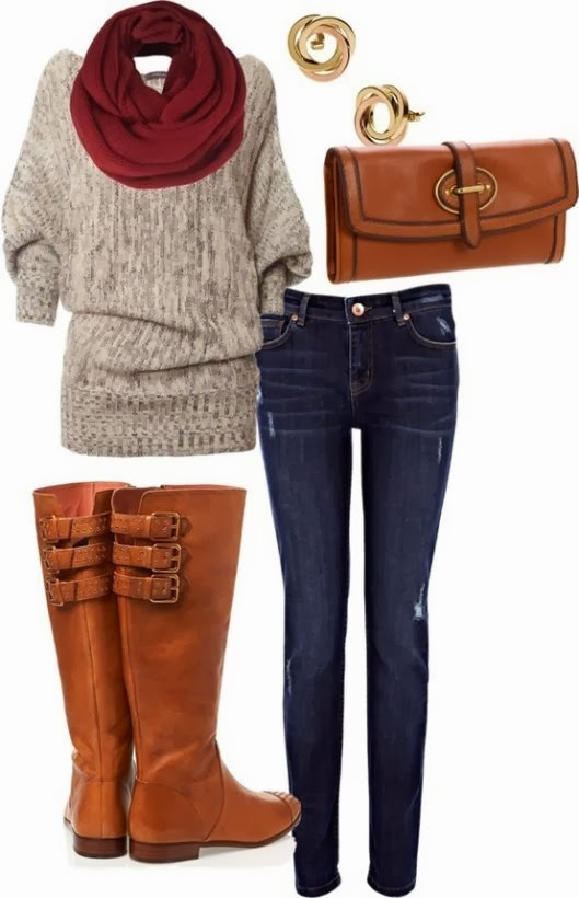 Stylish red scarf, grey sweater, jeans, brown long boots and handbag combination for fall