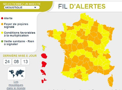 carte de France de vigilance moustiques