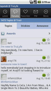 Tapatalk Forum App: Android Interface