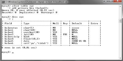128 MySQL dengan menggunakan Command Prompt (CMD)