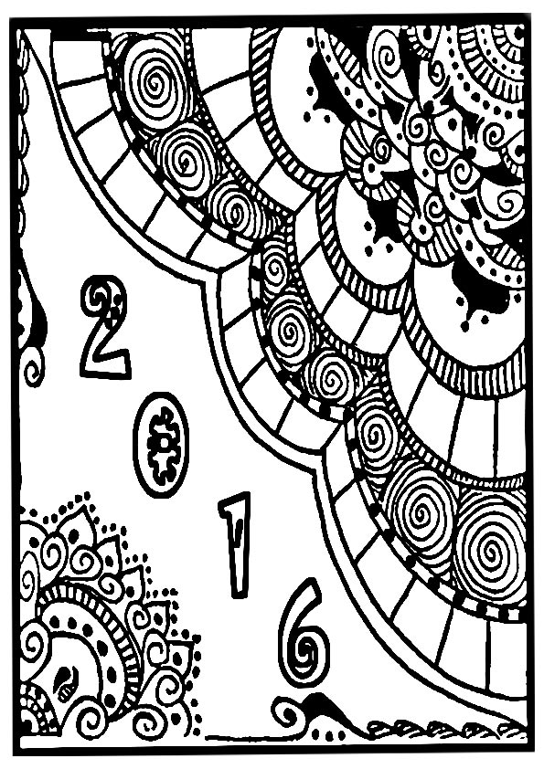 2016 new year adults coloring sheet
