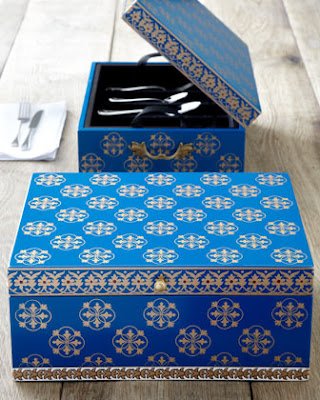 flatware chest in blue and gold