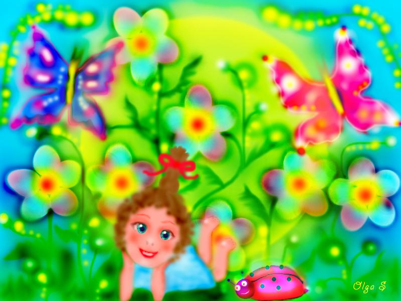 лето, бабочки, цветы, позитив