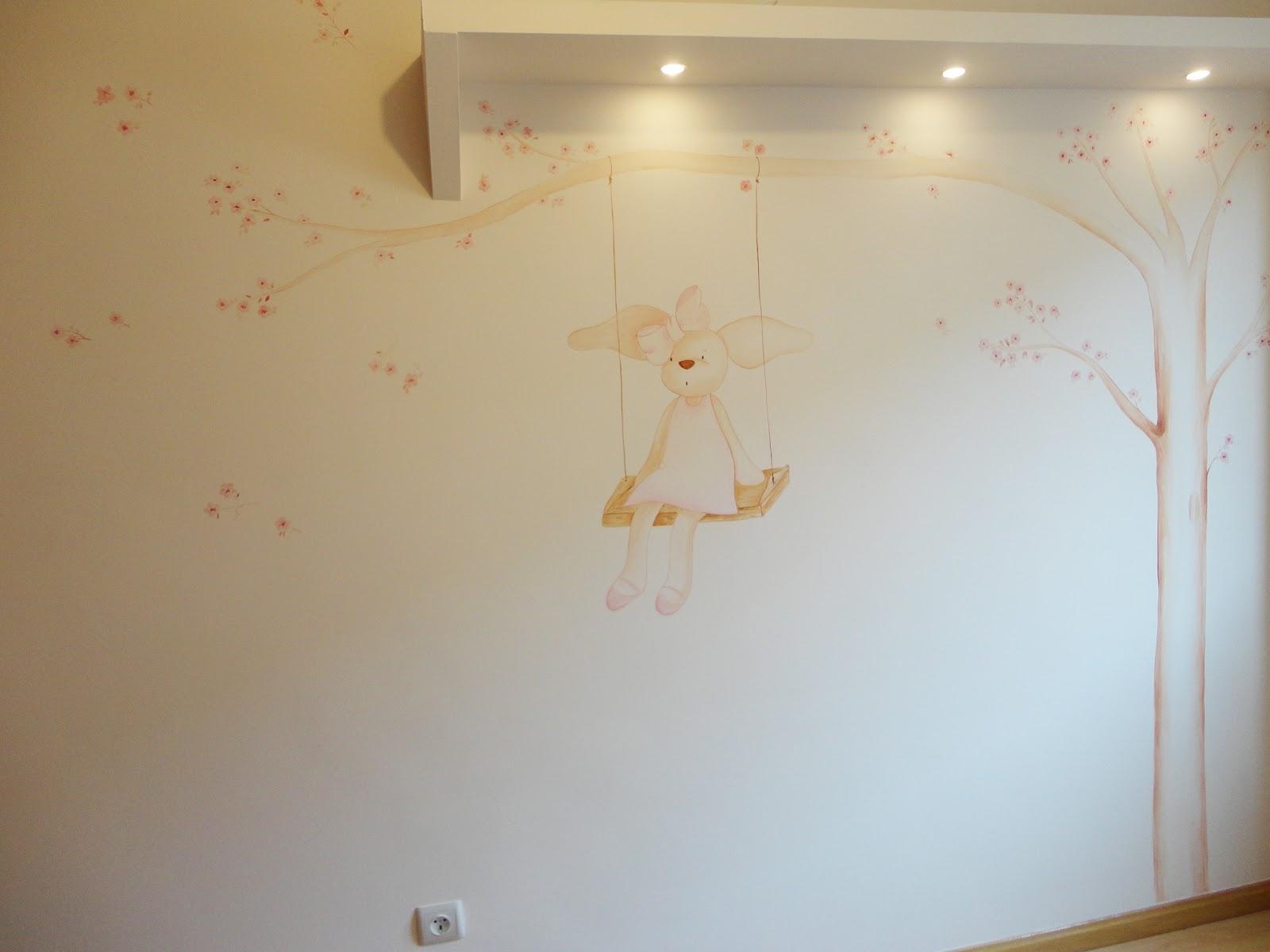 Decopared mural conejita en columpio - Murales de pared pintados a mano ...