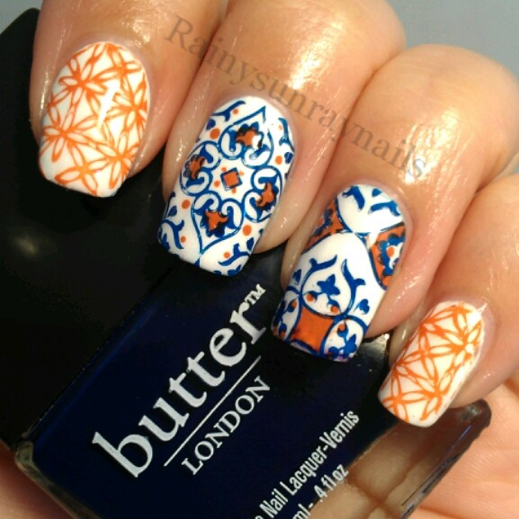 rainysunraynails: Spanish Tiled Nails. Day 20 of my 30 Day Stamping ...