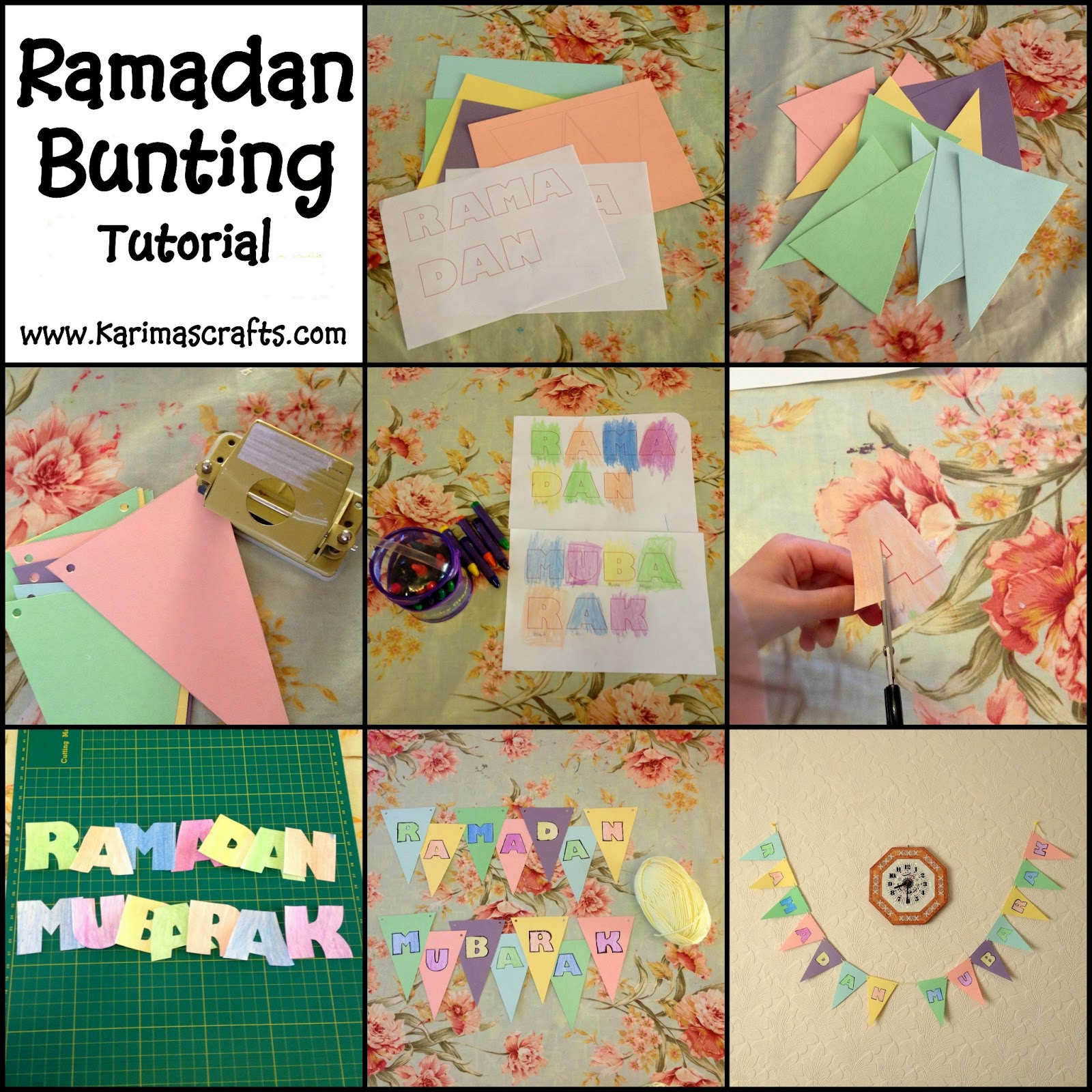 Ramadan Bunting Decorations tutorial Muslim Islamic Craft
