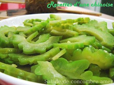 recettes d 39 une chinoise salade de concombre amer li ngb n k gu. Black Bedroom Furniture Sets. Home Design Ideas