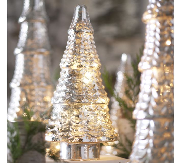 Pottery barn lit antique mercury glass tree tiered medium new