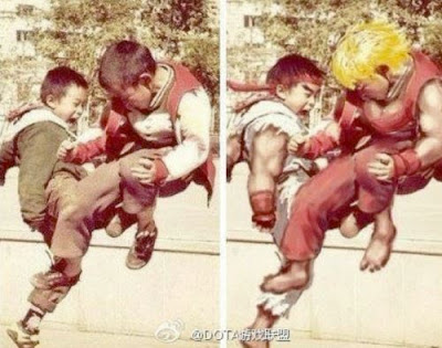 RYU contra KEN na infancia  - Street Fighter