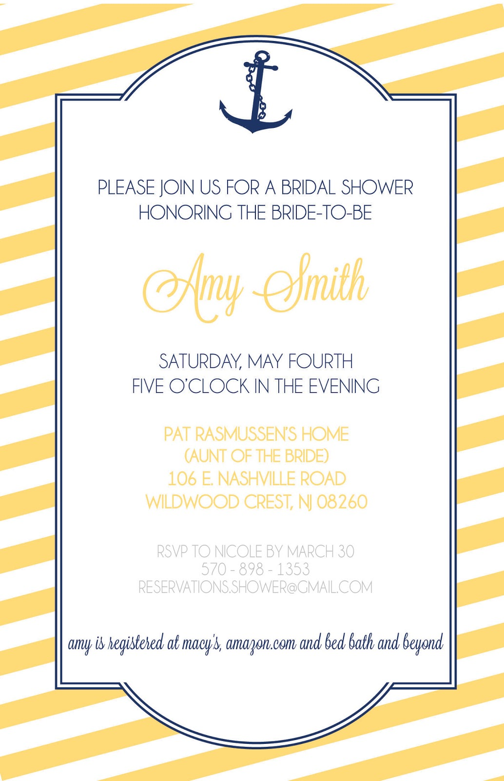 Nautical Bridal Shower Invitations and Thank Yous
