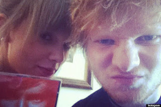 Swift and Sheeran in a photo from Twitter in 2012