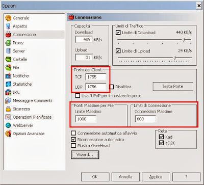 Tips and tricks parametri impostazioni emule porte libero for Porte emule 0 50a