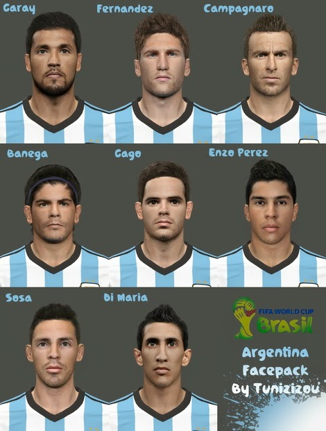 PES 2014 WC 2014 Argentina Facepack by Tunizizou