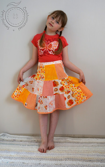 patchwork skirt, twirl skirt