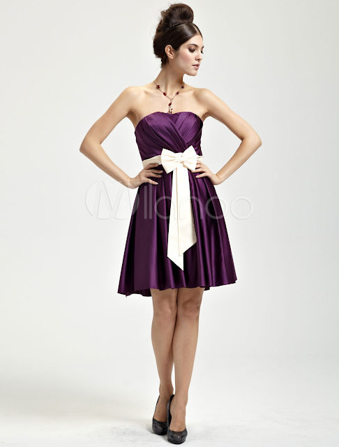 China Wholesale Clothes - Delicate Grape Satin Strapless Womens Cocktail Dress