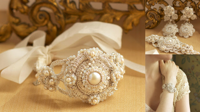 art deco wedding cuff bracelet with pearls, crystal, ribbon ties