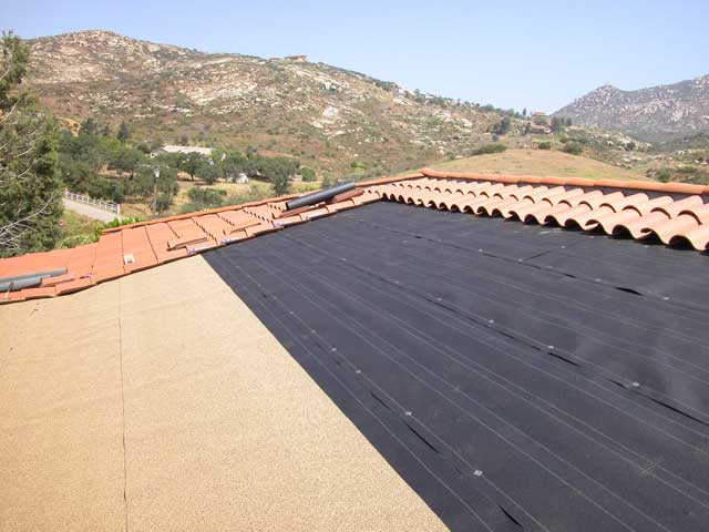 This Is A Great Example Of A Non Riser Installation. You Can See The Whole  Breakdown From The Felt To The Roll Roofing And On To The Tile.