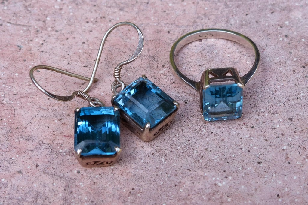 Blue topaz ring and earrings