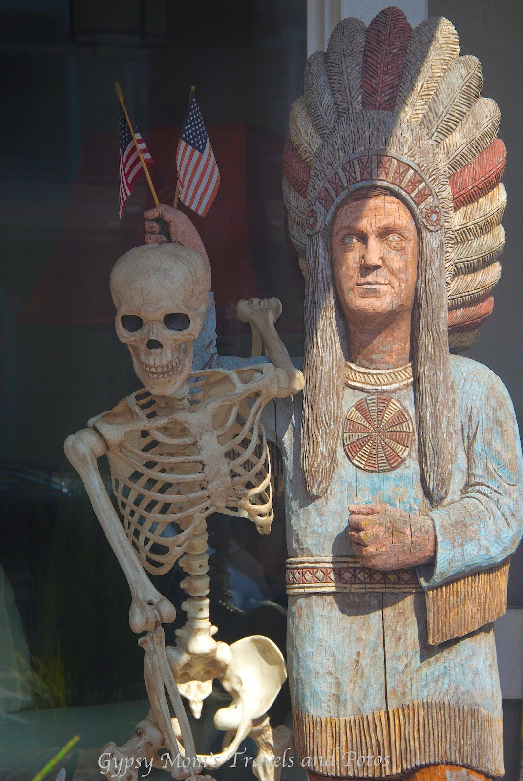 Skeleton and Native American on Balboa Island-Halloween Decorations