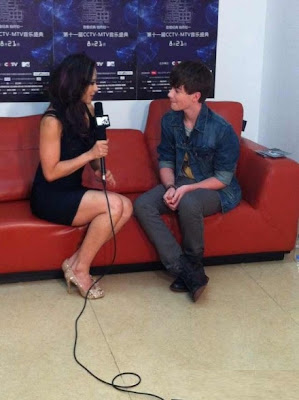 Greyson Chance sits with Nadya from MTV for interview in Beijing China