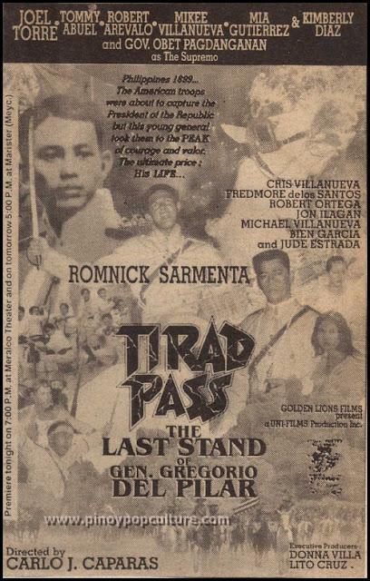 Gregorio Del Pilar, movies, Romnick Sarmenta, Tirad Pass: The Last Stand of Gen. Gregorio del Pilar