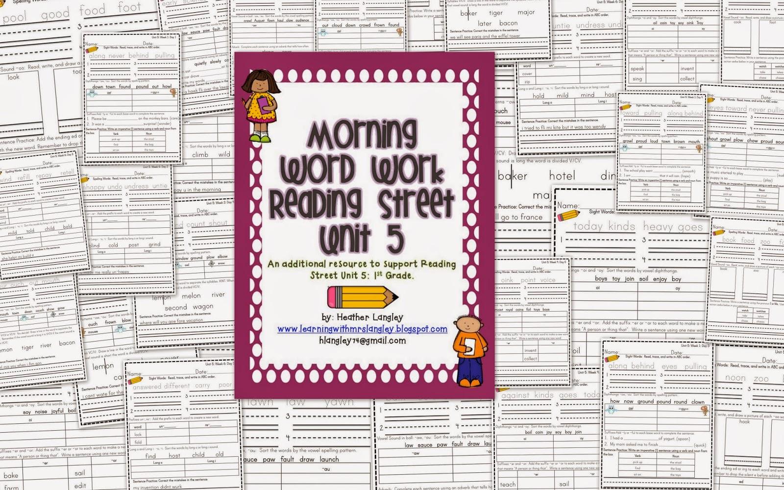 http://www.teacherspayteachers.com/Product/Reading-Street-Morning-Word-Work-BUNDLE-UNITS-R-1-2-3-4-5-1055481