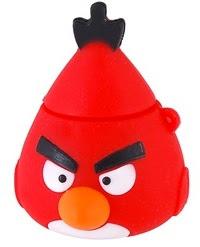 pendrive 'kepala' red bird, usb drive di sebelah atas