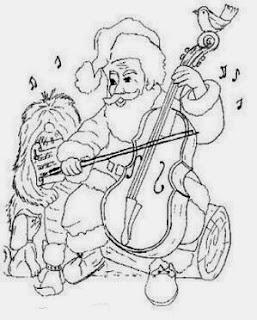desenho de papai noel tocando violoncelo