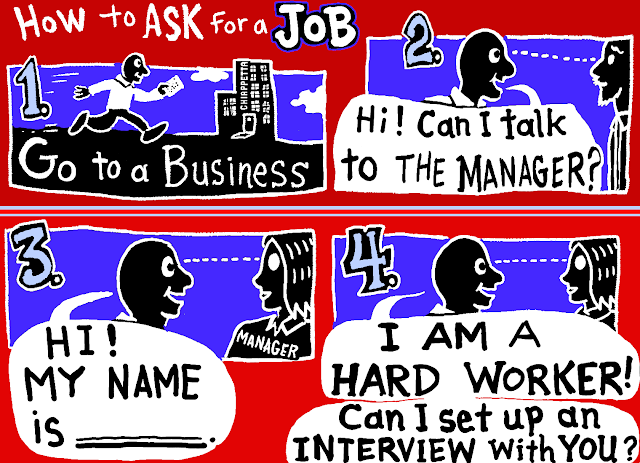 How to Ask for a Job - a Flashcard on Approaching Employers for People with Developmental Disabilities - comic by Joe Chiappetta