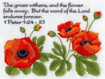 grass and poppies speak to us.