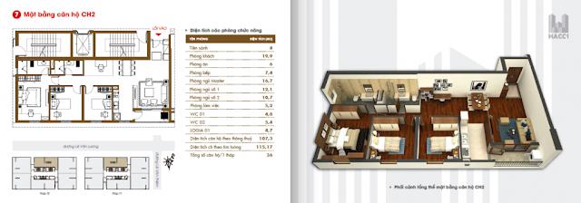 mặt bằng thiết kế căn hộ ch2 diện tích 115.17m2 chung cư hacc1