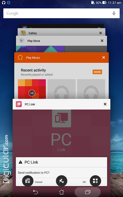 Recent apps tray Android Lollipop Zen UI