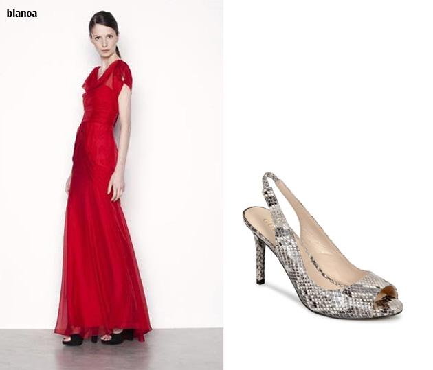 Zapatos para usar con vestido largo rojo