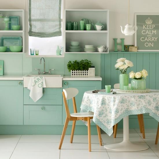 Decoração de cozinha com armario verde