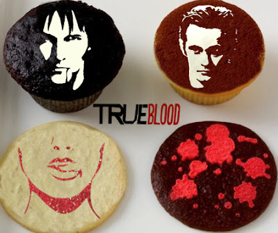 STENCILED TRUE BLOOD CUPCAKES AND COOKIES @northmanspartyvamps.com